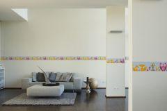 94113-3 cikkszámú tapéta.Gyerek,különleges motívumos,rajzolt,természeti mintás,virágmintás,kék,narancs-terrakotta,pink-rózsaszín,sárga,vlies bordűr