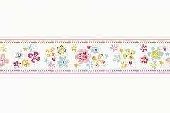 94127-1 cikkszámú tapéta.Gyerek,különleges motívumos,rajzolt,virágmintás,narancs-terrakotta,pink-rózsaszín,piros-bordó,zöld,kék,vlies bordűr
