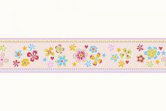 94127-2 cikkszámú tapéta.Gyerek,különleges motívumos,rajzolt,virágmintás,kék,narancs-terrakotta,pink-rózsaszín,piros-bordó,zöld,vlies bordűr