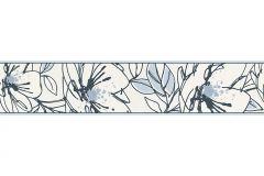 94175-2 cikkszámú tapéta.Különleges motívumos,rajzolt,virágmintás,bézs-drapp,fekete,kék,vlies bordűr