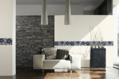 94364-3 cikkszámú tapéta.Kőhatású-kőmintás,különleges felületű,különleges motívumos,rajzolt,virágmintás,fekete,szürke,vlies bordűr