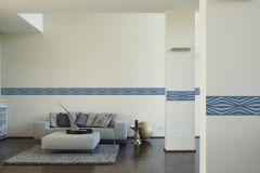 9438-35 cikkszámú tapéta.Geometriai mintás,konyha-fürdőszobai,különleges motívumos,rajzolt,kék,szürke,vlies bordűr