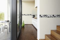 9474-44 cikkszámú tapéta.Konyha-fürdőszobai,különleges felületű,különleges motívumos,rajzolt,természeti mintás,fekete,lila,vlies bordűr