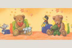 9559-20 cikkszámú tapéta.Absztrakt,gyerek,különleges motívumos,rajzolt,kék,narancs-terrakotta,piros-bordó,sárga,szürke,zöld,vlies bordűr
