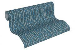 36312-5 cikkszámú tapéta.Absztrakt,textilmintás,kék,szürke,súrolható,vlies tapéta