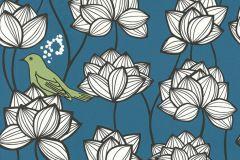 36317-1 cikkszámú tapéta.állatok,különleges felületű,virágmintás,fehér,fekete,kék,zöld,súrolható,vlies tapéta
