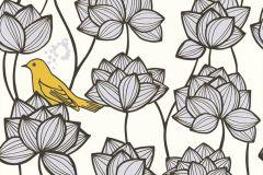 36317-2 cikkszámú tapéta.állatok,különleges felületű,virágmintás,arany,fehér,sárga,szürke,súrolható,vlies tapéta