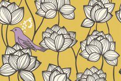 36317-3 cikkszámú tapéta.állatok,különleges felületű,virágmintás,arany,fehér,fekete,lila,sárga,súrolható,vlies tapéta