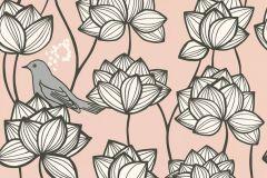 36317-4 cikkszámú tapéta.állatok,különleges felületű,virágmintás,fehér,fekete,pink-rózsaszín,szürke,súrolható,vlies tapéta