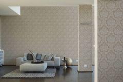 36716-3 cikkszámú tapéta.Barokk-klasszikus,különleges felületű,textilmintás,barna,bézs-drapp,lemosható,vlies tapéta