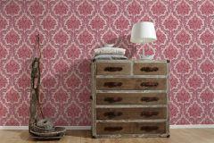 36716-5 cikkszámú tapéta.Barokk-klasszikus,különleges felületű,textilmintás,bézs-drapp,piros-bordó,lemosható,vlies tapéta