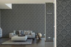 36716-6 cikkszámú tapéta.Barokk-klasszikus,különleges felületű,textilmintás,szürke,vajszín,lemosható,vlies tapéta