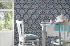 36716-7 cikkszámú tapéta.Barokk-klasszikus,különleges felületű,textilmintás,bézs-drapp,kék,vajszín,lemosható,vlies tapéta