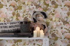 36717-2 cikkszámú tapéta.Különleges felületű,textilmintás,virágmintás,barna,fehér,narancs-terrakotta,pink-rózsaszín,vajszín,zöld,lemosható,vlies tapéta