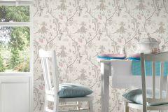 36719-1 cikkszámú tapéta.Konyha-fürdőszobai,különleges felületű,természeti mintás,textilmintás,bézs-drapp,pink-rózsaszín,zöld,lemosható,vlies tapéta