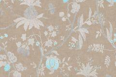 36719-3 cikkszámú tapéta.Konyha-fürdőszobai,különleges felületű,természeti mintás,textilmintás,barna,bézs-drapp,kék,lemosható,vlies tapéta