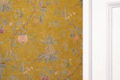 36719-4 cikkszámú tapéta.Konyha-fürdőszobai,természeti mintás,textilmintás,bézs-drapp,lila,pink-rózsaszín,sárga,zöld,lemosható,vlies tapéta