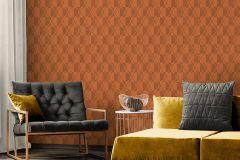 37478-4 cikkszámú tapéta.Geometriai mintás,különleges motívumos,narancs-terrakotta,piros-bordó,lemosható,vlies tapéta