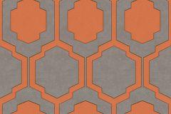 37479-3 cikkszámú tapéta.Geometriai mintás,különleges motívumos,narancs-terrakotta,sárga,szürke,lemosható,vlies tapéta