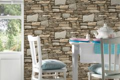 35938-1 cikkszámú tapéta.Kőhatású-kőmintás,különleges felületű,barna,bézs-drapp,szürke,súrolható,vlies tapéta