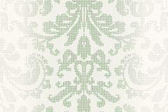 31995-2 cikkszámú tapéta.Barokk-klasszikus,pöttyös,fehér,szürke,zöld,lemosható,vlies tapéta