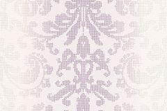 31995-4 cikkszámú tapéta.Barokk-klasszikus,pöttyös,fehér,lila,lemosható,vlies tapéta