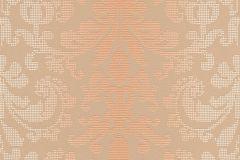31995-6 cikkszámú tapéta.Barokk-klasszikus,pöttyös,bézs-drapp,narancs-terrakotta,sárga,lemosható,vlies tapéta