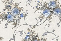 30420-1 cikkszámú tapéta.Barokk-klasszikus,virágmintás,barna,bézs-drapp,kék,szürke,súrolható,vlies tapéta