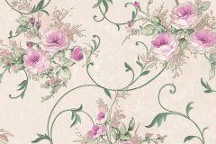 30420-5 cikkszámú tapéta.Barokk-klasszikus,virágmintás,bézs-drapp,pink-rózsaszín,zöld,súrolható,vlies tapéta