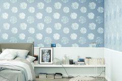 32454-1 cikkszámú tapéta.Metál-fényes,virágmintás,kék,lemosható,vlies tapéta