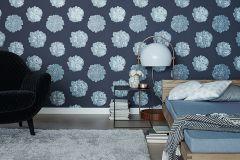 32454-5 cikkszámú tapéta.Metál-fényes,virágmintás,kék,szürke,lemosható,vlies tapéta