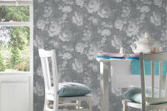 33604-1 cikkszámú tapéta.Textil hatású,virágmintás,fehér,szürke,súrolható,vlies tapéta