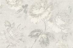 33604-3 cikkszámú tapéta.Textil hatású,virágmintás,fehér,szürke,súrolható,vlies tapéta