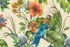 30015-1 cikkszámú tapéta.állatok,virágmintás,bézs-drapp,fehér,kék,narancs-terrakotta,piros-bordó,sárga,zöld,súrolható,vlies tapéta