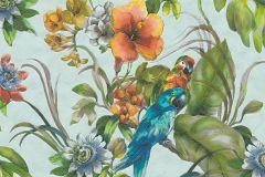 30015-2 cikkszámú tapéta.állatok,virágmintás,kék,narancs-terrakotta,piros-bordó,sárga,türkiz,zöld,súrolható,vlies tapéta