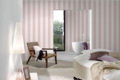 3140-17 cikkszámú tapéta.Csíkos,textil hatású,fehér,pink-rózsaszín,súrolható,illesztés mentes,vlies tapéta
