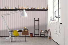 3140-86 cikkszámú tapéta.Csíkos,textil hatású,fehér,pink-rózsaszín,súrolható,illesztés mentes,vlies tapéta