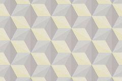 96255-3 cikkszámú tapéta.3d hatású,absztrakt,geometriai mintás,különleges felületű,különleges motívumos,barna,sárga,szürke,lemosható,vlies tapéta