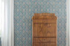 33607-5 cikkszámú tapéta.Barokk-klasszikus,barna,kék,türkiz,súrolható,vlies tapéta
