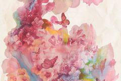 34451-1 cikkszámú tapéta.állatok,gyerek,különleges motívumos,virágmintás,kék,lila,narancs-terrakotta,pink-rózsaszín,sárga,vajszín,súrolható,vlies tapéta