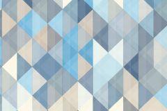 36786-3 cikkszámú tapéta.Absztrakt,geometriai mintás,bézs-drapp,fehér,kék,súrolható,vlies tapéta