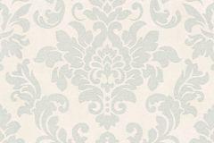 37270-2 cikkszámú tapéta.Barokk-klasszikus,csillámos,ezüst,fehér,súrolható,vlies tapéta