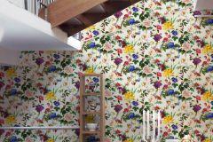 37336-1 cikkszámú tapéta.Virágmintás,fehér,kék,lila,sárga,súrolható,vlies tapéta