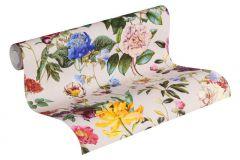 37336-3 cikkszámú tapéta.Virágmintás,bézs-drapp,kék,lila,narancs-terrakotta,sárga,súrolható,vlies tapéta