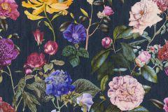37336-4 cikkszámú tapéta.Virágmintás,kék,lila,narancs-terrakotta,sárga,súrolható,vlies tapéta