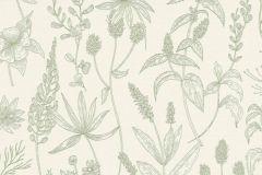 37363-5 cikkszámú tapéta.Rajzolt,virágmintás,fehér,zöld,lemosható,vlies tapéta