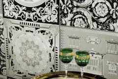 96272-4 cikkszámú tapéta.Barokk-klasszikus,fehér,fekete,szürke,  tapéta