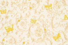 34325-1 cikkszámú tapéta.állatok,barokk-klasszikus,különleges felületű,virágmintás,sárga,vajszín,súrolható,vlies tapéta