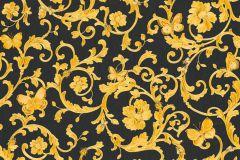 34325-2 cikkszámú tapéta.állatok,barokk-klasszikus,különleges felületű,virágmintás,arany,fekete,súrolható,vlies tapéta