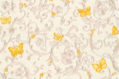 34325-3 cikkszámú tapéta.állatok,barokk-klasszikus,virágmintás,narancs-terrakotta,sárga,vajszín,súrolható,vlies tapéta